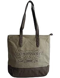52f10fb83bfb3 Modische Canvas Tasche von Bag Street - Damentasche Shopper Umhängetasche  Vintage Handtasche - Baumwollstoff Segelstoff…