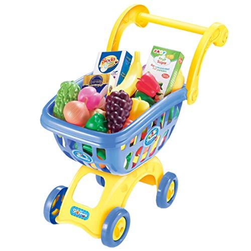 Food Cart Design (Sunbary Kinder Einkaufswagen Spielzeug Supermarkt Einkaufswagen Trolley Cart mit Pretend Play Food Spielzeug Geschenke für Jungen und Mädchen (Blau))