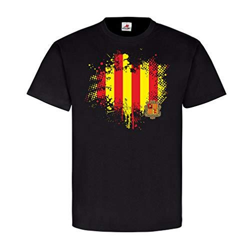 Catalonien Flagge Spanien Escudo de Armas Bandera Patria Bandera del pais T-Shirt #23741, Farbe:Schwarz, Größe:Herren 4XL