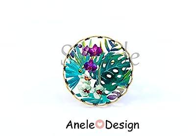 Bague Fleurs tropicales, cabochon bronze violet vert blanc cadeau femme