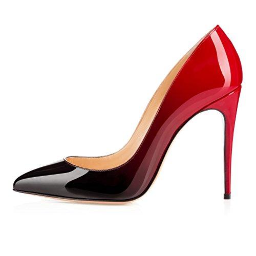 EDEFS Femmes Artisan Fashion Escarpins Délicats Classiques Elégants Pointus Des Couleurs Variées Chaussures à talon de 100mm Jaune Gradient