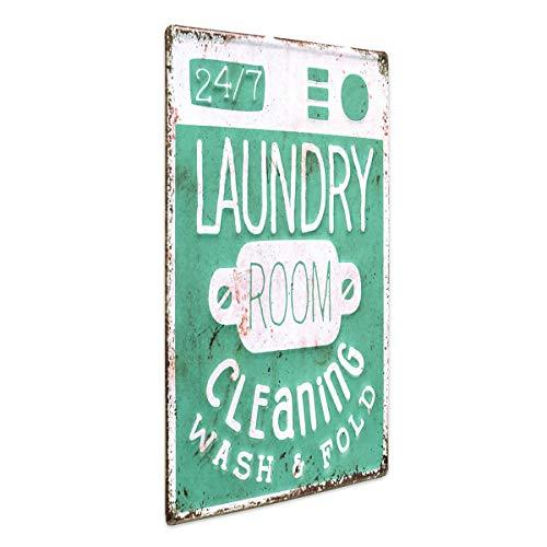PHOTOLINI Blechschild Laundry 24/7 30x40 cm Retro Metallschild Spruch Waschküche
