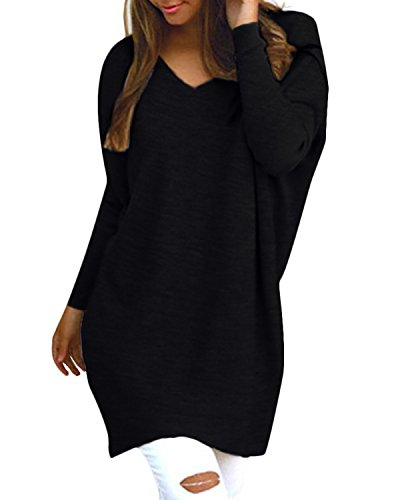 StyleDome Damen Locker Lange Ärmel Pullover Solide Hemdkleid Lange Tops Jumper Sweatshirt Schwarz A 38-40