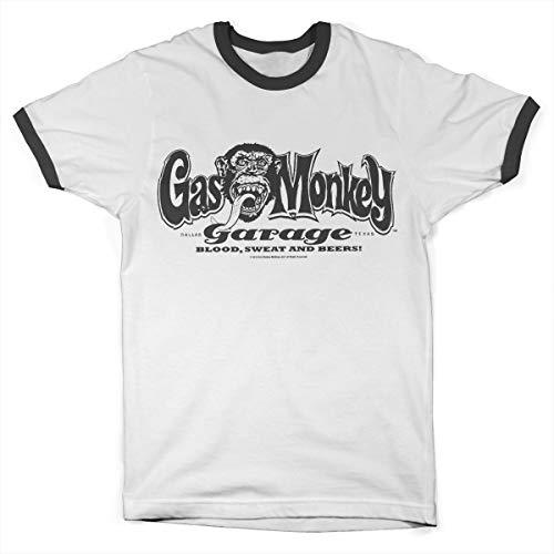 Gas Monkey Garage Offizielles Lizenzprodukt Logo Ringer Herren T-Shirt (Weiß-Schwarz), X-Large -
