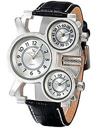 Relojes Hermosos, Moda 3 zonas horarias de cuero correa de reloj militar de los hombres v6 ( Color : Negro , Talla : Una Talla )