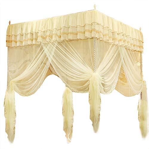 Fdit Bedding - Mosquitera con Tres Aberturas Laterales para Colgar en la Cama, Color Amarillo, 150 * 200 * 200