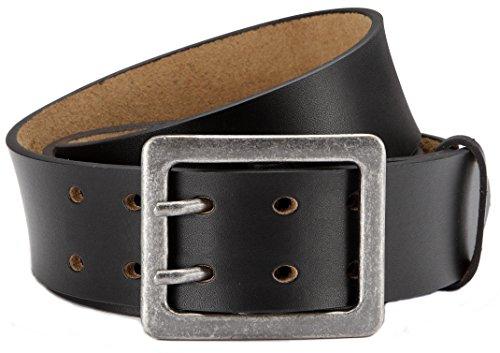 Eg-Fashion Herren Jeansgürtel aus Büffelleder stylische Doppeldorn-Schließe in 4,5 cm Breite - Massige Schnalle im Used Look (Bundweite: 100cm = Gesamtlänge: 115cm, Schwarz)
