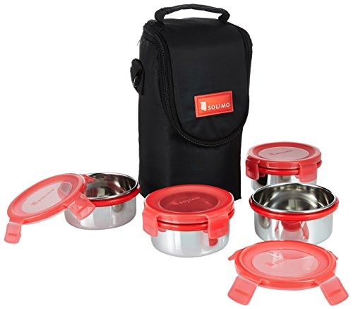 Solimo Stainless Steel Lunch Box Set with Bag, 300ml, 11cm Diameter, 4-Pieces, Red Lid