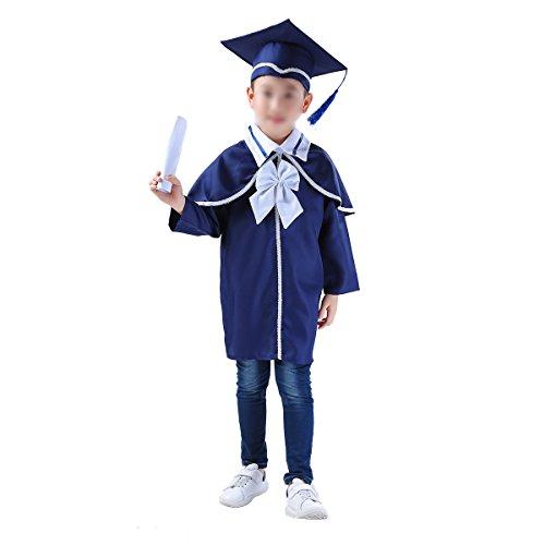 Amosfun Graduation Robe Abschluss Robe Graduation Talar für Kinder Party Doktor Kostüm Zubehör (Marineblau) Size - Doktor Kostüm Zubehör
