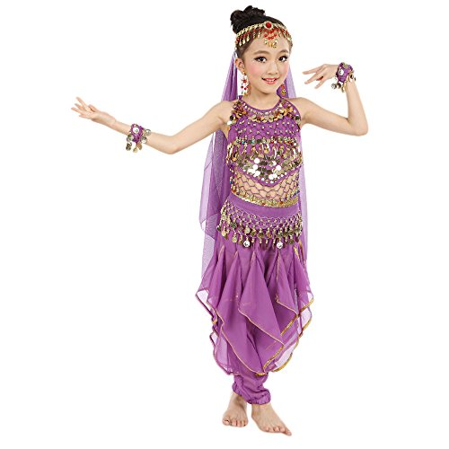 Ägypten Outfit - Lonshell Kinder Mädchen Tanzkostüme Bauchtanz Performance