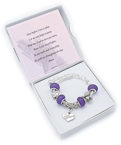 First Holy Communion Charm pour bracelet 2Couleur Options filles Bijoux Argenté scintillant