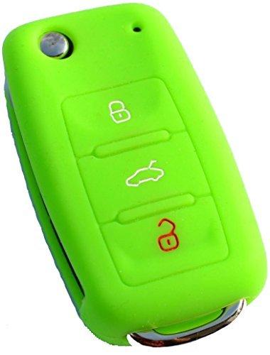 vw-volkswagen-skoda-seat-neon-schlusselhulle-vert-key-fob-coque-de-cle
