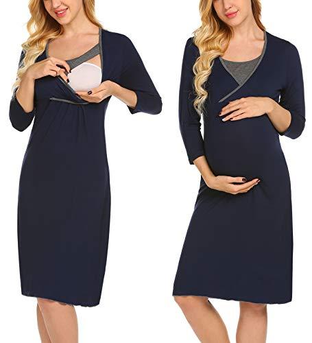 UNibelle Damen 3/4 Ärmel Umstandskleid Winter Mode Einfarbig Umstandsmode Frauen Freizeit Mutterschafts Kleid Umstandsnachthemd Nachtkleid Nachtwäsche Navy Blau ()