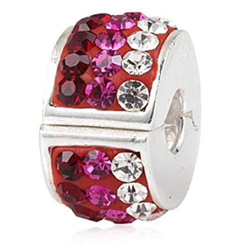 Charm-Anhänger für Pandora-Charm-Armband, 925 Sterlingsilber, Clip-Stopper rot Rot-stopper