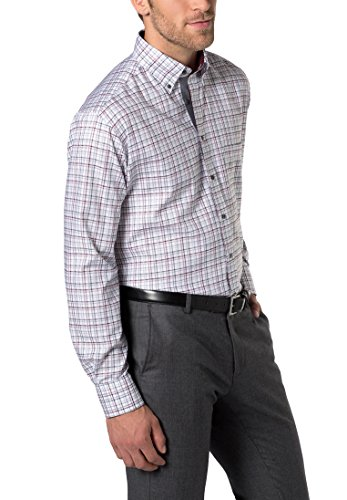 ETERNA long sleeve Shirt COMFORT FIT Twill checked rosso vinaccia/grigio