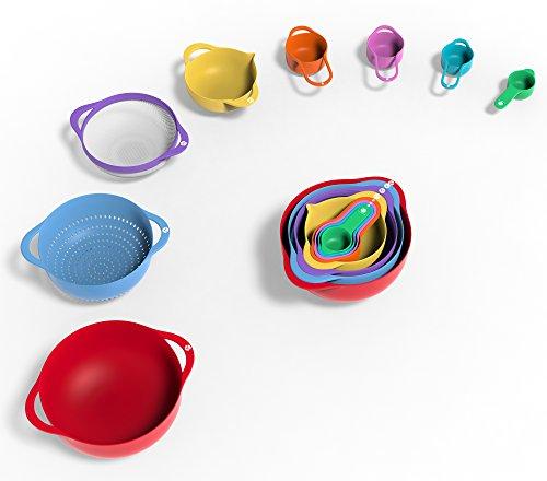 Vremi Set de 13 Tazones para cocina – Tazones plasticos con Tazon grande – Tazones encajables para cocina con asas y Tazas y Cucharas Medidoras encajables – Tazones apilables multicolor rojo rosado