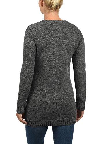 DESIRES Philemona Damen Cardigan Strickjacke Grobstrick V-Ausschnitt mit Knopfleiste aus 100% Baumwolle Meliert Dark Grey (2890)