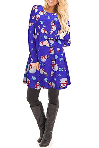 YMING Femme Robe Longues Manches Casual Tunique Style Basique T-Shirt Tops Mini Robe 14 Couleur,XS-XXXXL Xmas-Bonhomme de neige-Vert