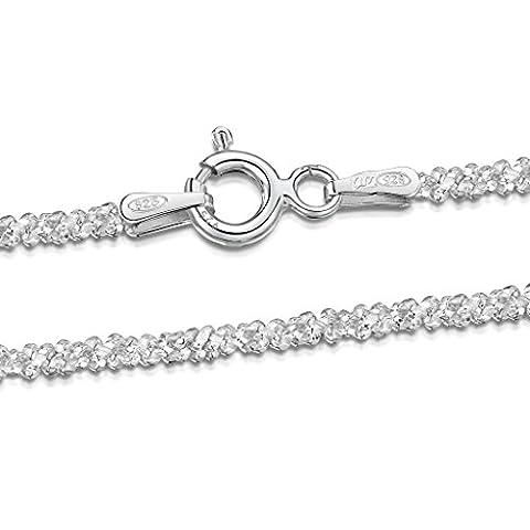 Amberta 925 Sterlingsilber Damen-Halskette - Popcorn-Kette - 2 mm Breite