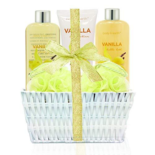 Body & earth spa cesto regalo, set da bagno e corpo set, contiene bagnoschiuma, bagnoschiuma, crema corpo e set di spugne da bagno, migliore regalo per le donne