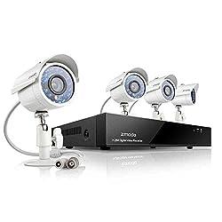 ZMODO CCTV Überwachungskamera System Video Überwachungsset 8CH D1 DVR mit 4x700TVL Höhe Auflösung Tag/Nacht Wetterfeste IR-Cut eingebaut Sicherheit Kameras Ohne Festplatte