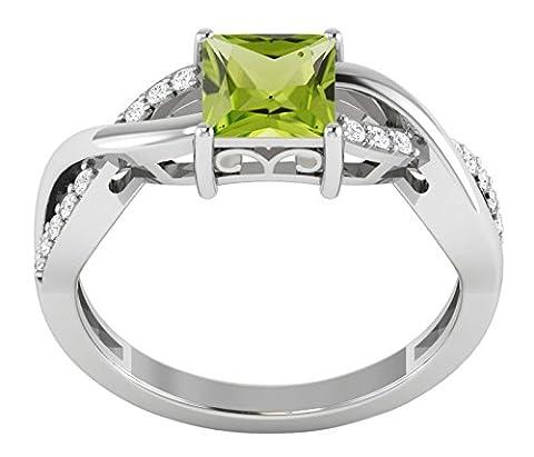 Banithani 925 Sterling Silver New Indian Fashion Peridot Gemstone Beautiful Ring Jewellery