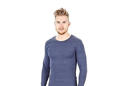 Herren Thermounterhemd - Extra warm und weich mit Ringelmuster - 8/XXL - Jeansblau