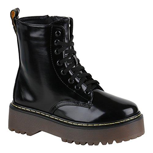Damen Stiefeletten Stiefel Worker Boots Lack Profisohle Punk Schuhe 149565 Schwarz Lack 41 | (Punk Frauen Rock Kostüme)