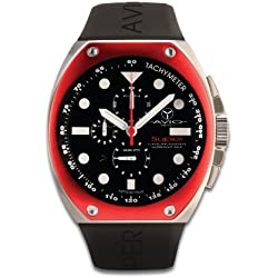 Avio Milano Men's Quartz Watch with Black Dial Chronograph Display and Black Rubber Strap SA AC 2001