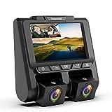 TOGUARD Cámara de Coche Full HD 1080P+1080P ,Dashcam 3' Pantalla con 340°Gran Ángulo Camara para Coches, G-Sensor, Grabación en Bucle,Monitoreo de Estacionamiento y Detección de Movimiento
