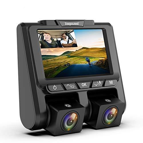 """TOGUARD Cámara de Coche Full HD 1080P+1080P ,Dashcam 3\"""" Pantalla con 340°Gran Ángulo Camara para Coches, G-Sensor, Grabación en Bucle,Monitoreo de Estacionamiento y Detección de Movimiento"""