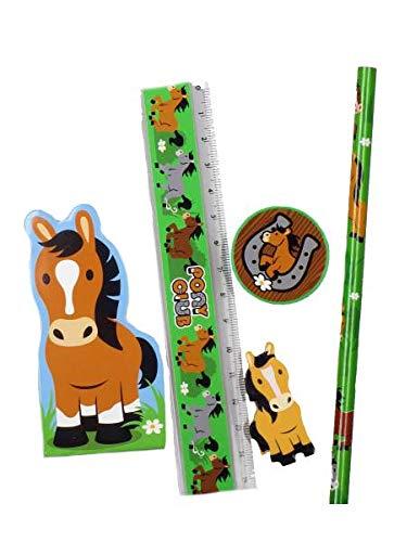 Partygroßhandel 6 x Schreibset Pferd Pony 5-teilig Radiergummi Bleistift Lineal Spitzer Block