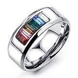 JJZHY Sechs Farbe Regenbogen Titanium Stahl Halbe Farbe Ring LGBT Schmuck Elegantes Geschenk,Als Zeigen,U.S7