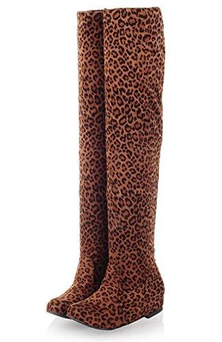 Femmes Bottes Automne Hiver 2014 Mesdames Mode plat Bottes Chaussures Bas-dessus du genou Cuissardes en daim Bottes longues Marque Designer Leopard Jaune