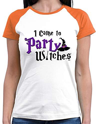 Witch Für Kostüm Erwachsene White - HARIZ  Damen Baseball Shirt I Came to Party Witches Halloween Kostüm Verkleidung Kürbis Plus Geschenkkarten White/Orange XL