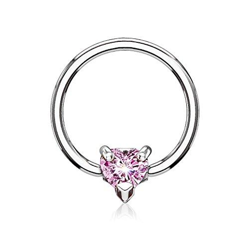 Kultpiercing - Helix Piercing Herz mit Zirkoniakristall - Tragus Cartilage Daith Piercing - Klemmring - Intimpiercing - Septum - 5 mm Pink