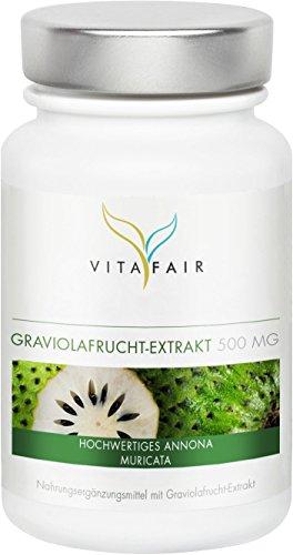 Graviola Extrakt | 500mg pro Tagesdosis | 90 Kapseln | Hochdosiertes 10:1 Fruchtextrakt | Vegan | Ohne Magnesiumstearat | Made in Germany - Acai-früchte Kapseln