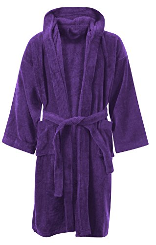 (Crazy Girls Kids Junge MÄDCHEN Badezimmer 100% ÄGYPTISCHE Baumwolle LUXUX Velor TÜCHER Kapuze Kleidung Gown Soft FINE Bequeme Nightwear Terry TÜCHER Bad Robe Lounge WEAR Housecoat (8-10 Jahre, Lila))