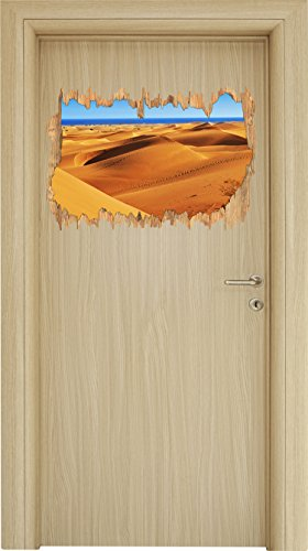 Preisvergleich Produktbild Wüste am Meer Holzdurchbruch im 3D-Look ,  Wand- oder Türaufkleber Format: 62x42cm,  Wandsticker,  Wandtattoo,  Wanddekoration