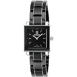 Fendi reloj de cerámica negro Dial f621210