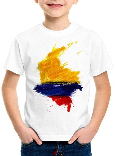 CottonCloud Flagge Kolumbien Kinder T-Shirt Fußball Sport Colombia WM EM Fahne, Farbe:Weiß, Größe:128