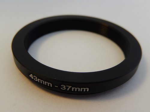 vhbw Step Down Adapter Ring Filteradapter 43mm-37mm schwarz für Samsung NX Lens 20 mm 2.8 i-Function