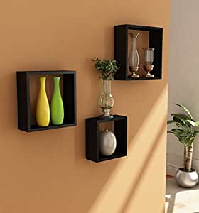 Home Sparkle Wooden Wall Shelf | Cube Design Wall Mounted Shelves for Living Room - Set of 3 (Black)
