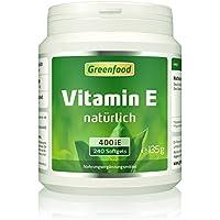 Greenfood Vitamin E, 400 iE, natürlich, 240 Softgel-Kapseln – schützt Haut und Zellen vor frühzeitiger Alterung, hält die Blutgefäße geschmeidig. OHNE künstliche Zusätze. Ohne Gentechnik.