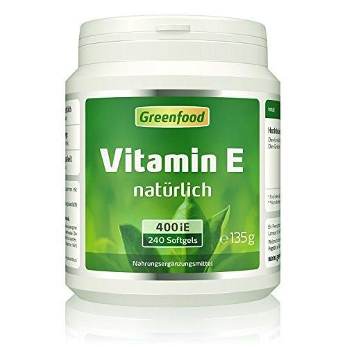 E 400 Natürliche (Greenfood Vitamin E, 400 iE, natürlich, 240 Softgel-Kapseln – schützt Haut und Zellen vor frühzeitiger Alterung, hält die Blutgefäße geschmeidig. OHNE künstliche Zusätze. Ohne Gentechnik.)