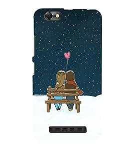 Takkloo lovers boy and girl sitting on bench,heart sign, twinkling stars) Printed Designer Back Case Cover for Lenovo Vibe C :: Lenovo A2020