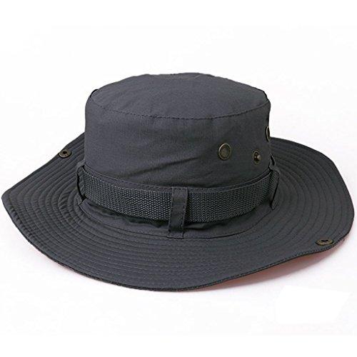 Yithings Cappello Pescatore Uomo Donna Estivo Traspirante Anti UV Tesa Larga Bucket Hat per Campeggio,Pesca,Escursionismo Brim Hat-Cappello (Grigio)