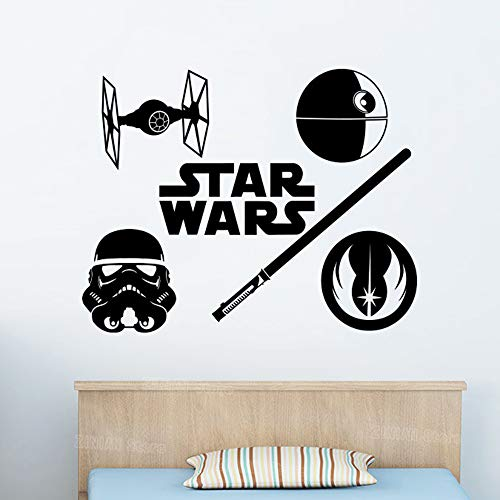 guijiumai Logo Wandtattoo Jedi Order Krawatte Figh Stormtrooper Vinyl Aufkleber Schlafzimmer Kinder Berühmte Filmklassiker rot 56X71 cm