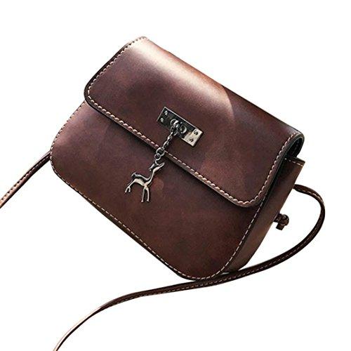 ESAILQ Sac à main pour femme Messenger Bag Sac à bandoulière pour cerf Vintage Small sac à main en cuir Sac décontracté