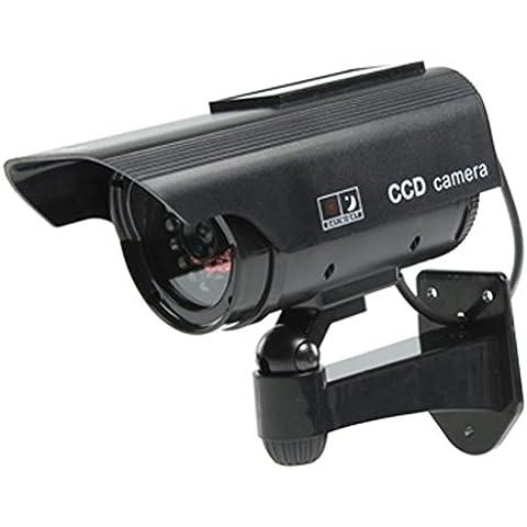 Ex-Pro ®–argento nero solare ricaricabile velocità Dummy Finta Telecamera di sicurezza CCTV, per interni/esterni, con pannello solare per flash LED IR pannelli